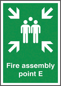 Fire Assembly Point E  297x210mm 1.2mm Rigid Plastic Safety Sign
