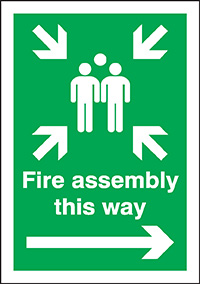 Fire assembly this way  right arrow   400x300mm 3mm Aluminium Safety Sign