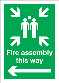 Fire assembly this way  left arrow   400x300mm 3mm Aluminium Safety Sign