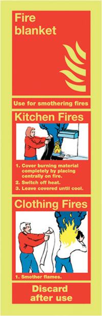 Fire Blanket  300x100mm Nite Glo Self Adhesive Vinyl Safety Sign