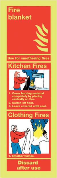 Fire Blanket  300x100mm 1.2mm Nite Glo Rigid Safety Sign