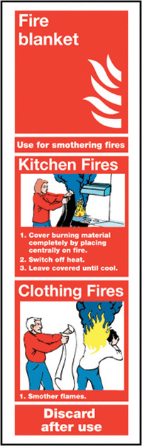 Fire Blanket  300x100mm 1.2mm Rigid Plastic Safety Sign