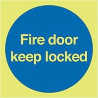 Fire Door Keep Locked  100x100mm 1.2mm Nite Glo Rigid Safety Sign