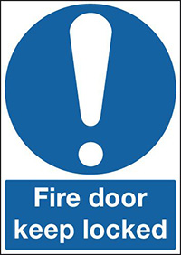 Fire Door Keep Locked  100x100mm 1.2mm Rigid Plastic Safety Sign