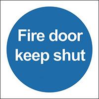 Fire Door Keep Shut  100x100mm 0.9mm Aluminium Safety Sign