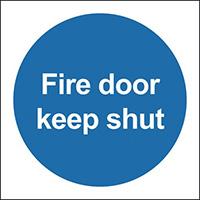 Fire Door Keep Shut 100x100mm 1.2mm Rigid Plastic Safety Sign