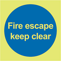 Fire Escape Keep Clear  100x100mm 1.2mm Nite Glo Rigid Safety Sign