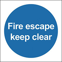 Fire Escape Keep Clear 100x100mm 1.2mm Rigid Plastic Safety Sign