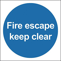 Fire Escape Keep Clear 200x200mm 1.2mm Rigid Plastic Safety Sign