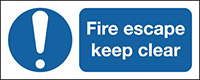 Fire Escape Keep Clear 210x148mm 1.2mm Rigid Plastic Safety Sign