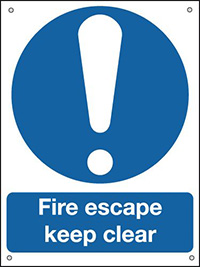 Fire Escape Keep Clear  400x300mm 0.9mm Aluminium Safety Sign