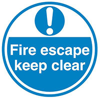 Fire Escape keep clear  450mm Self Adhesive Vinyl Safety Sign
