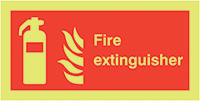 Fire Extinguisher  100x200mm 1.2mm Nite Glo Rigid Safety Sign