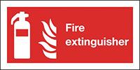 Fire Extinguisher Symbol  Flames  100x200mm 1.2mm Rigid Plastic Safety Sign