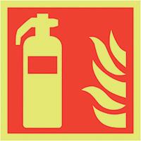Fire Extinguisher Symbol  150x150mm 1.2mm Nite Glo Rigid Safety Sign