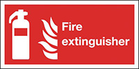 Fire Extinguisher  150x300mm 1.2mm Rigid Plastic Safety Sign
