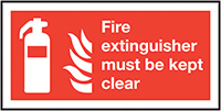Thumbnail Fire Extinguisher Must Be Kept Clear  100x200mm 1.2mm Rigid Plastic Safety Sign