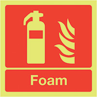 Foam Extinguisher  100x100mm 1.2mm Nite Glo Rigid Safety Sign