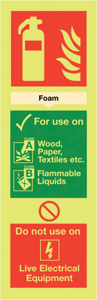 Foam Extinguisher For Use On  300x100mm Nite Glo Self Adhesive Vinyl Safety Sign