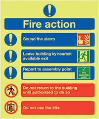 Fire Action Notice  Symbolised   300x250mm 1.2mm Nite Glo Rigid Safety Sign