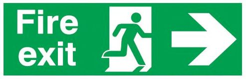 Fire exit right sign  150x450mm 3mm Foamed Rigid Plastic Safety Sign