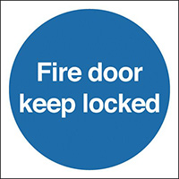 Automatic Fire Door Keep Clear  100x100mm Nite Glo Self Adhesive Vinyl Safety Sign