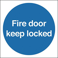 Automatic Fire Door Keep Clear  100x100mm 1.2mm Nite Glo Rigid Safety Sign