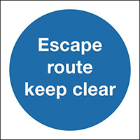 Escape Route Keep Clear 150x150mm 1.2mm Rigid Plastic Safety Sign