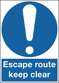 Escape Route Keep Clear 210x148mm 1.2mm Rigid Plastic Safety Sign