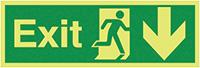 Exit Running Man Arrow Down  150x450mm 1.2mm Nite Glo Rigid Safety Sign