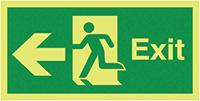 Exit Running Man Arrow Left  150x450mm 1.2mm Nite Glo Rigid Safety Sign