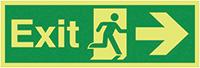 Exit Running Man Arrow Right  150x450mm 1.2mm Nite Glo Rigid Safety Sign