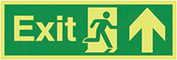 Exit Running Man Arrow Up  150x450mm 1.2mm Nite Glo Rigid Safety Sign