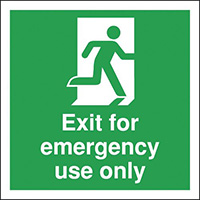 Exit For Emergency Use Only  150x150mm 1.2mm Rigid Plastic Safety Sign