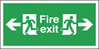 Fire Exit Arrow Left   Right  150x300mm 1.2mm Rigid Plastic Safety Sign