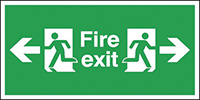Fire Exit Arrow Left   Right  300x600mm 1.2mm Rigid Plastic Safety Sign