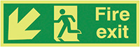 Fire Exit Running Man Arrow Down Left  150x300mm 1.2mm Nite Glo Rigid Safety Sign