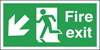Fire Exit Running Man Arrow Down Right  150x450mm 1.2mm Rigid Plastic Safety Sign