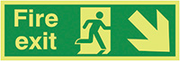 Fire Exit Running Man Arrow Down Right  150x300mm 1.2mm Nite Glo Rigid Safety Sign