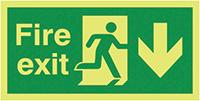 Fire Exit Running Man Arrow Down  150x300mm 1.2mm Nite Glo Rigid Safety Sign