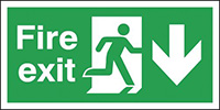 Fire Exit Running Man Arrow Down  150x300mm 2mm Polycarbonate Safety Sign
