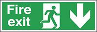 Fire Exit Running Man Arrow Down  150x300mm 0.9mm Aluminium Safety Sign