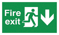 Fire exit down sign  150x450mm 3mm Foamed Rigid Plastic Safety Sign