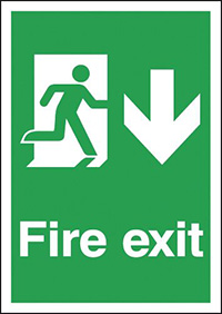 Fire Exit Running Man Down  297x210mm 1.2mm Rigid Plastic Safety Sign