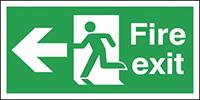 Fire Exit Running Man Arrow Left  150x300mm 0.9mm Aluminium Safety Sign