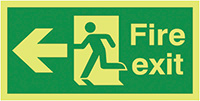 Fire Exit Running Man Arrow Left  150x300mm Nite Glo Self Adhesive Vinyl Safety Sign