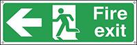 Fire Exit Running Man Arrow Left  150x450mm 0.9mm Aluminium Safety Sign