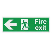 Fire Exit Running Man Arrow Left  150x300mm 1.2mm Nite Glo Rigid Safety Sign