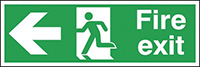 Fire Exit Running Man Arrow Left  150x450mm 2mm Polycarbonate Safety Sign