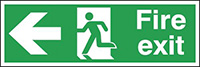 Fire Exit Running Man Arrow Left  150x450mm 1.2mm Rigid Plastic Safety Sign